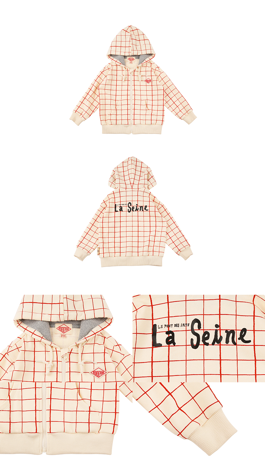 La seine check pattern sweat zip  hoodie 상세 이미지