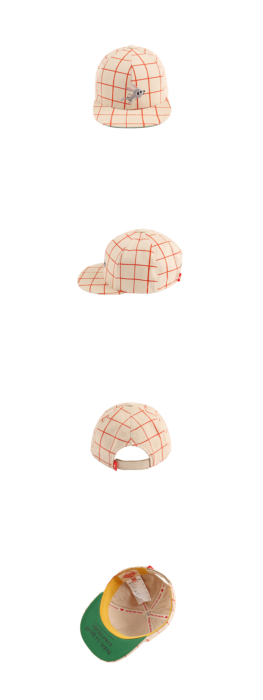 Rabbit check 6 panel hat 상세 이미지