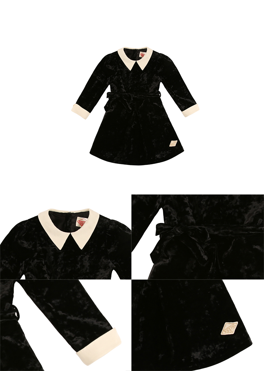 Party velvet ribbon belted dress 상세 이미지
