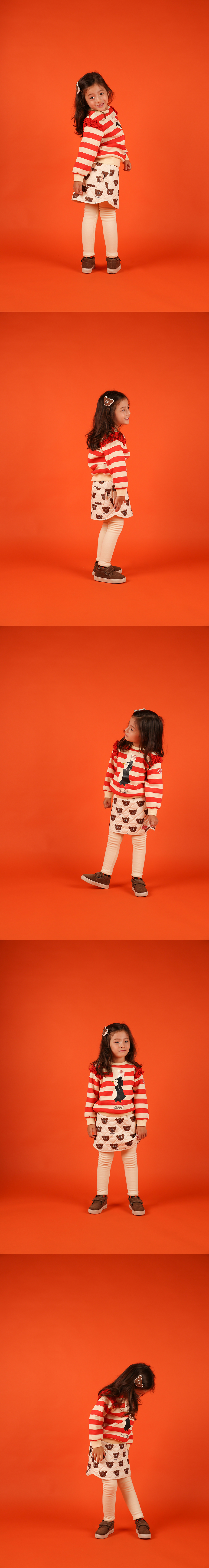 Penguin stripe ruffle sweatshirt 상세 이미지