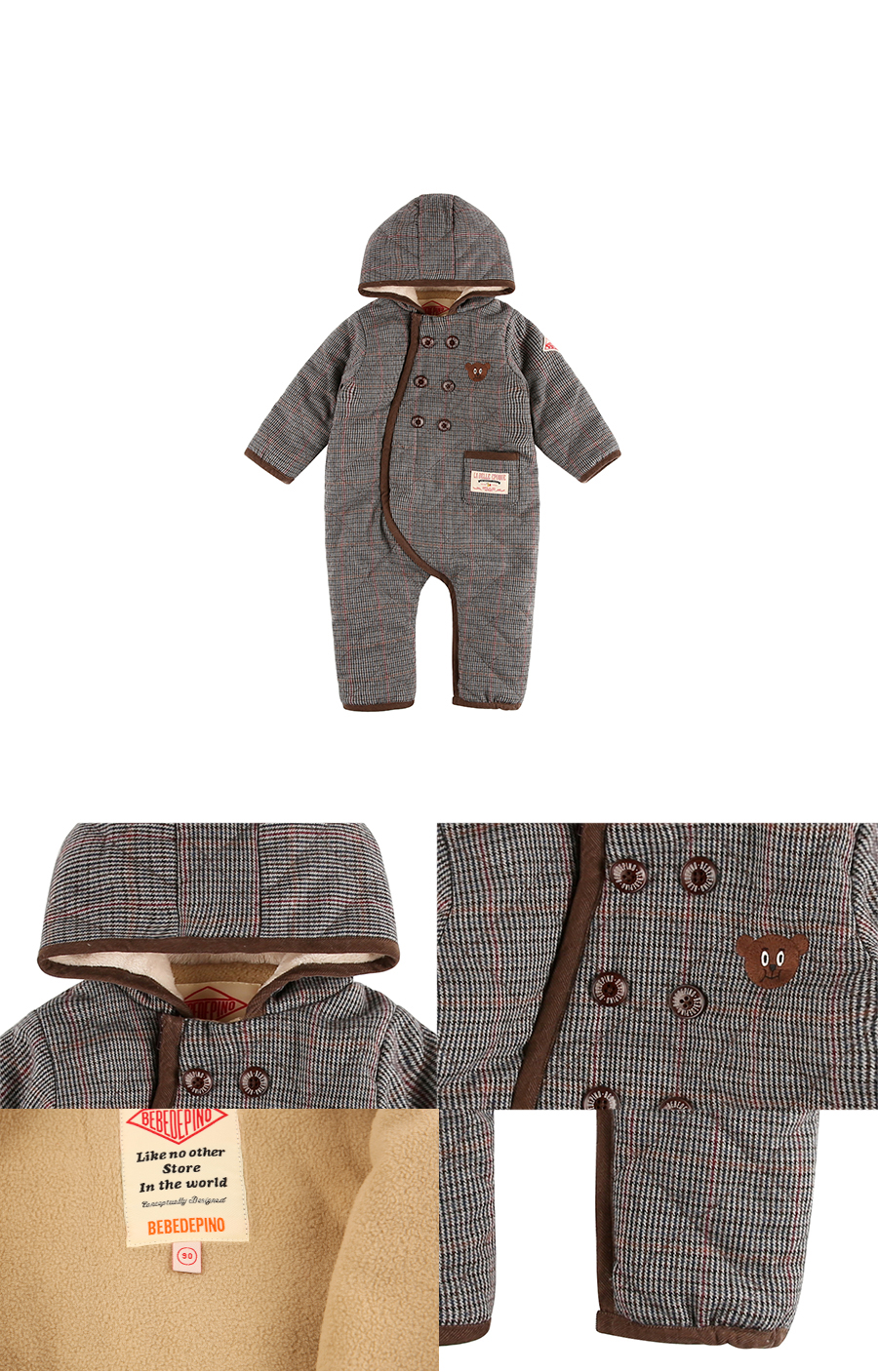 Willy bear baby glen check overall 상세 이미지