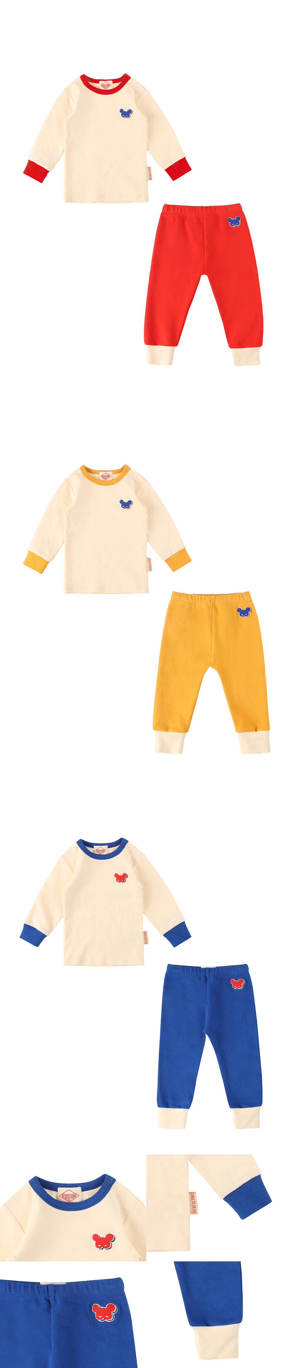 Basic baby shadow pino colorblock homewear set 상세 이미지