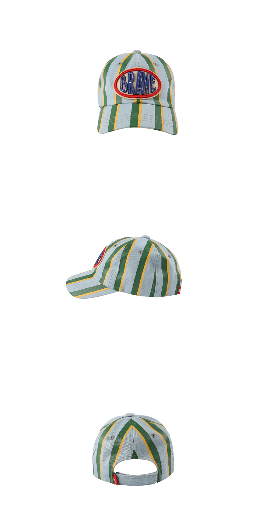 Brave stripe color block baseball cap 상세 이미지