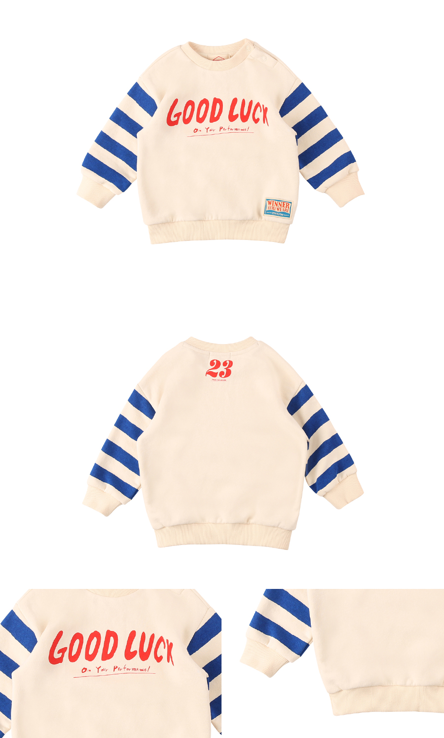 Good luck baby stripe sleeve sweatshirt 상세 이미지