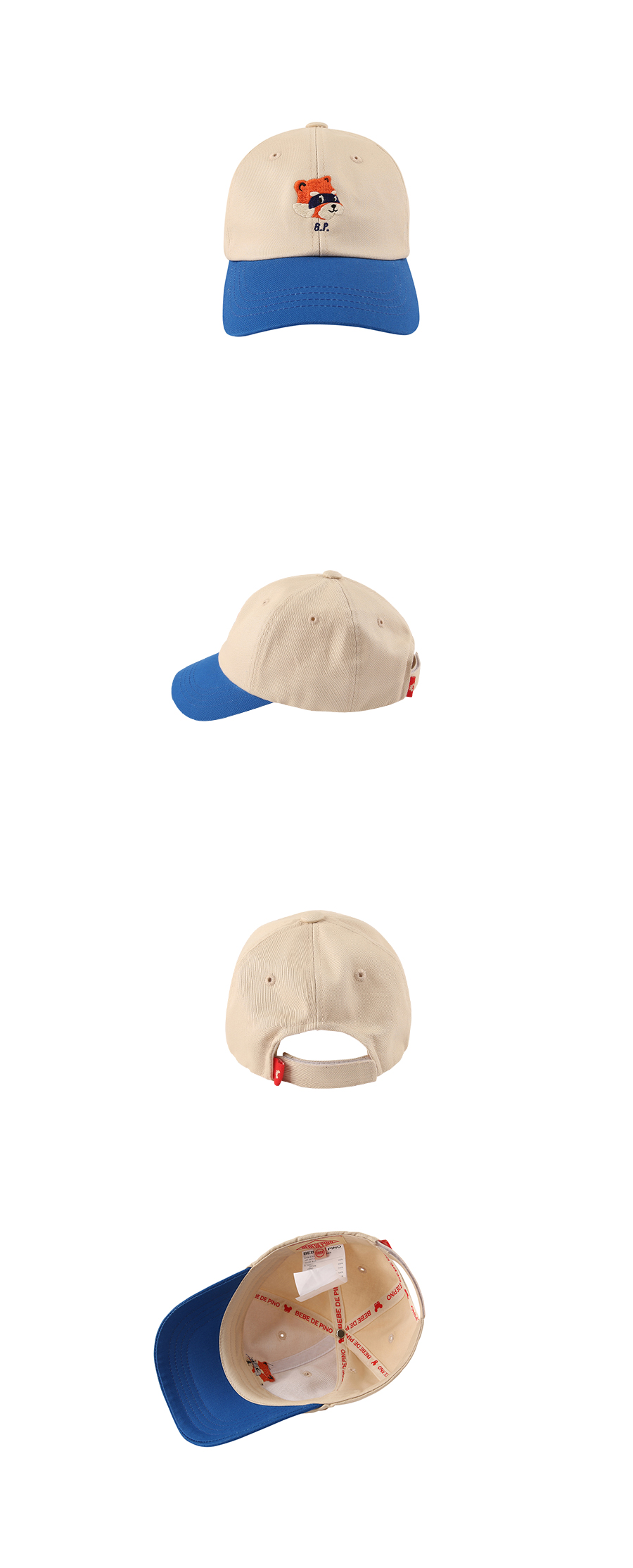 Lesser panda color block baseball cap 상세 이미지
