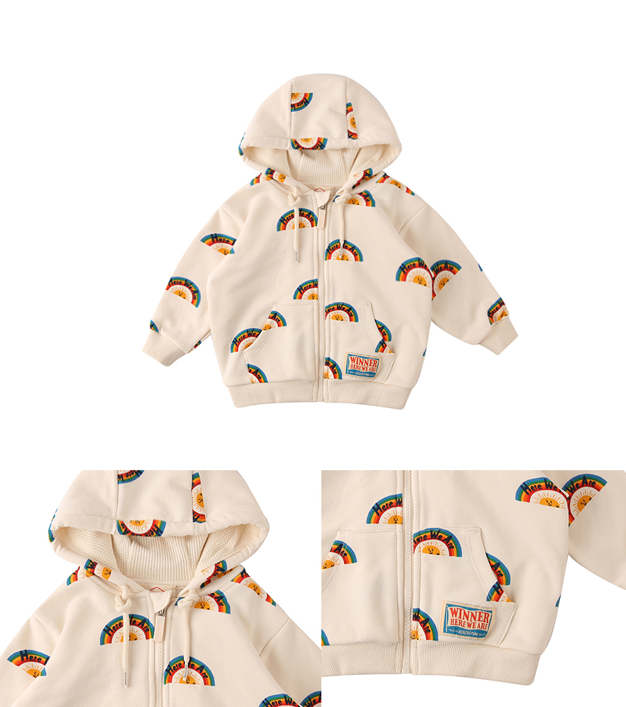 Multi rainbow baby hood zip up jacket 상세 이미지