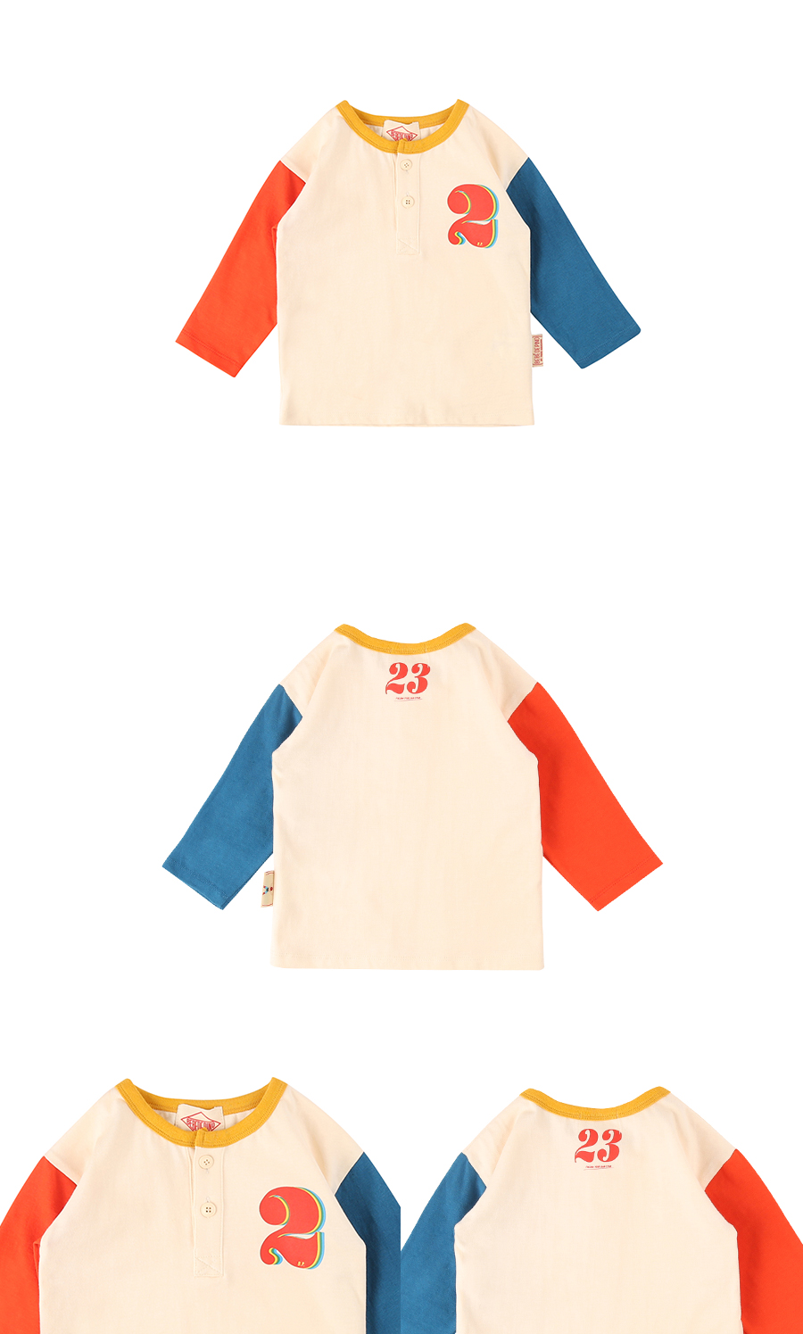 Number 2 baby color block long sleeve tee 상세 이미지