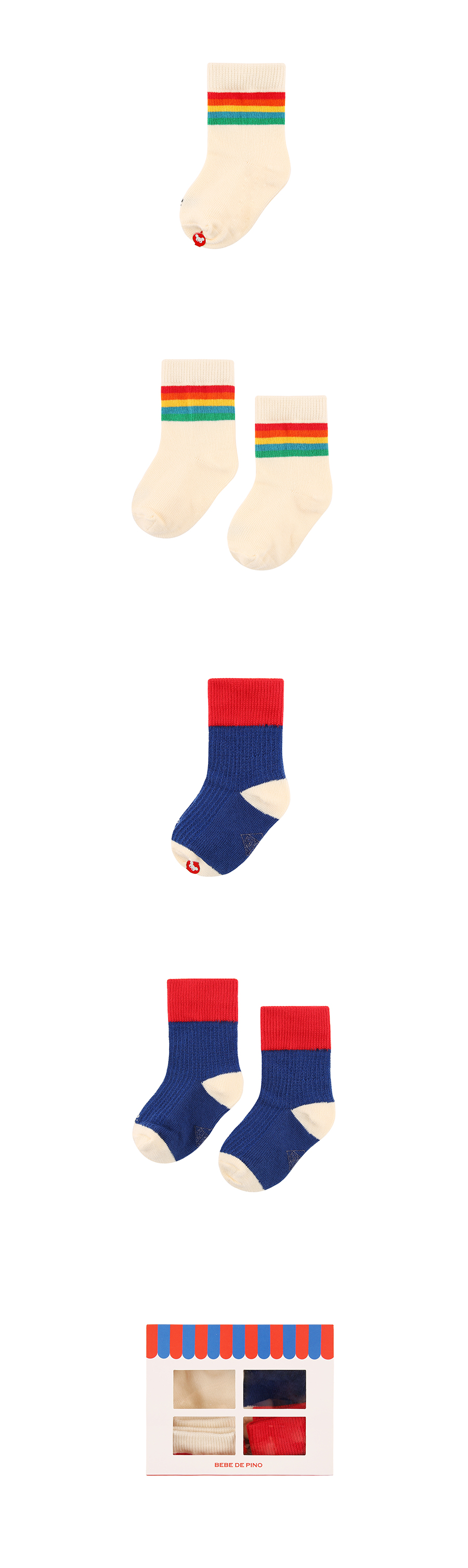 Rainbow color block socks 2 piece set 상세 이미지
