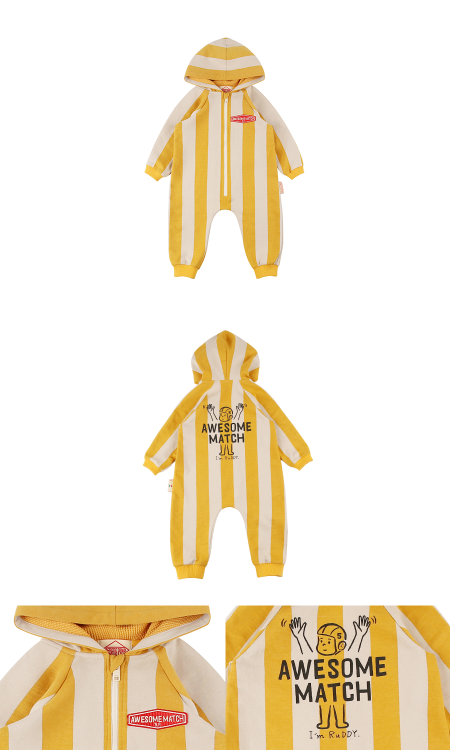 Awesome match baby stripe hoodie overall 상세 이미지