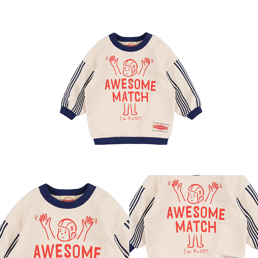 Awesome match baby stripe sleeve sweatshirt 상세 이미지