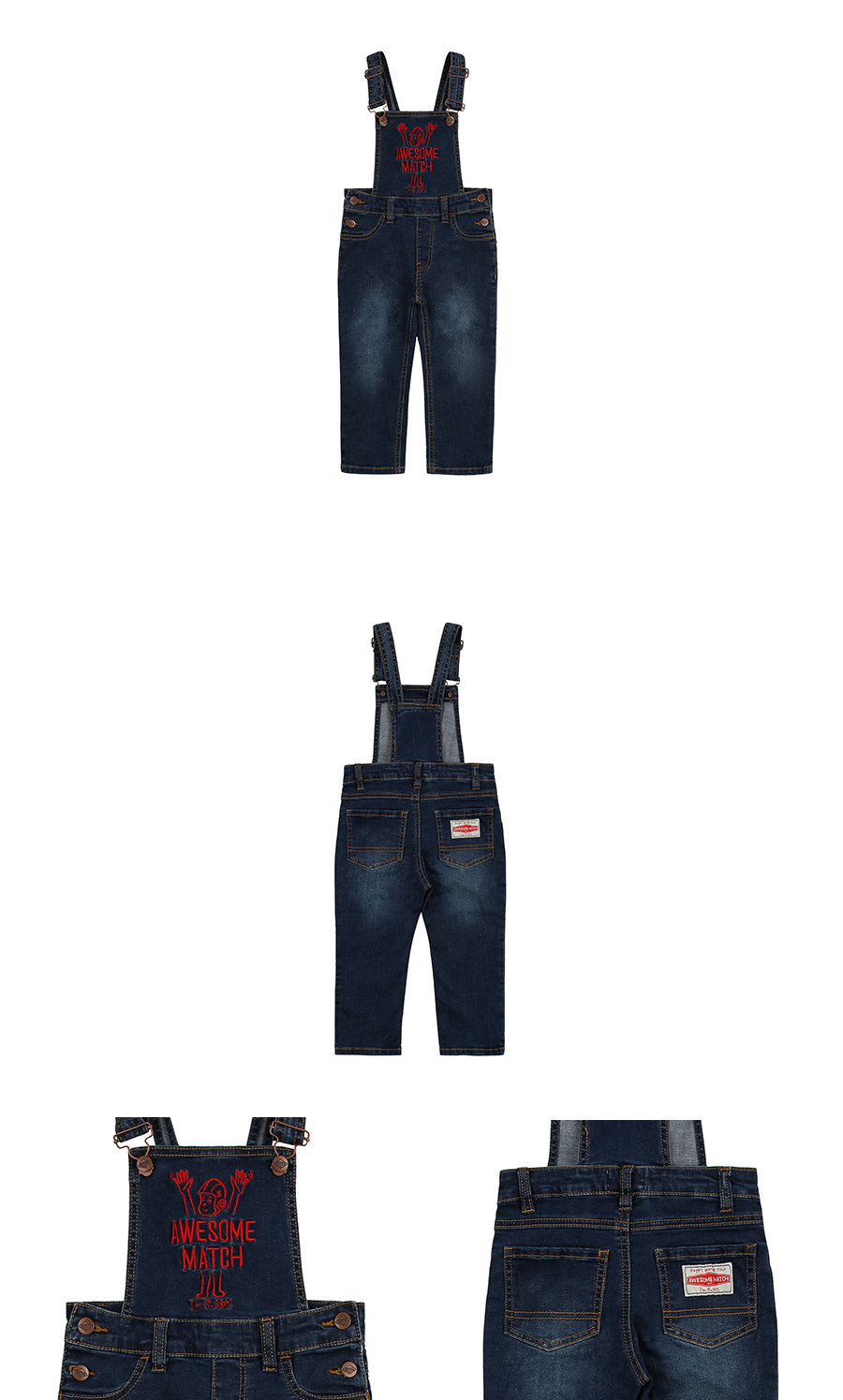 Awesome match embroidery denim overall 상세 이미지