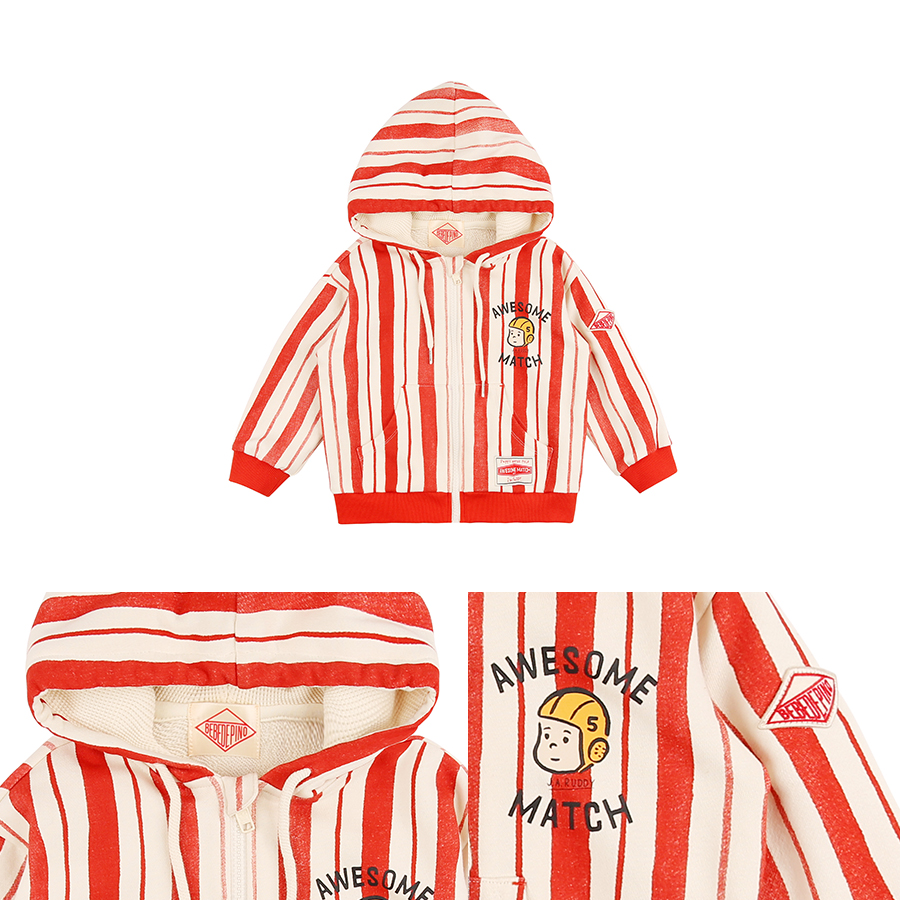 Awesome match vertical stripe sweat zip hoodie 상세 이미지