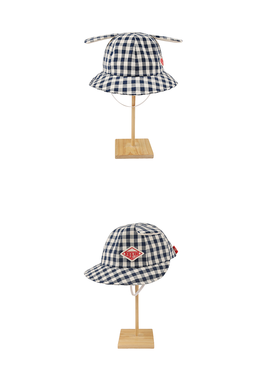 Baby gingham check puppy ear hat 상세 이미지