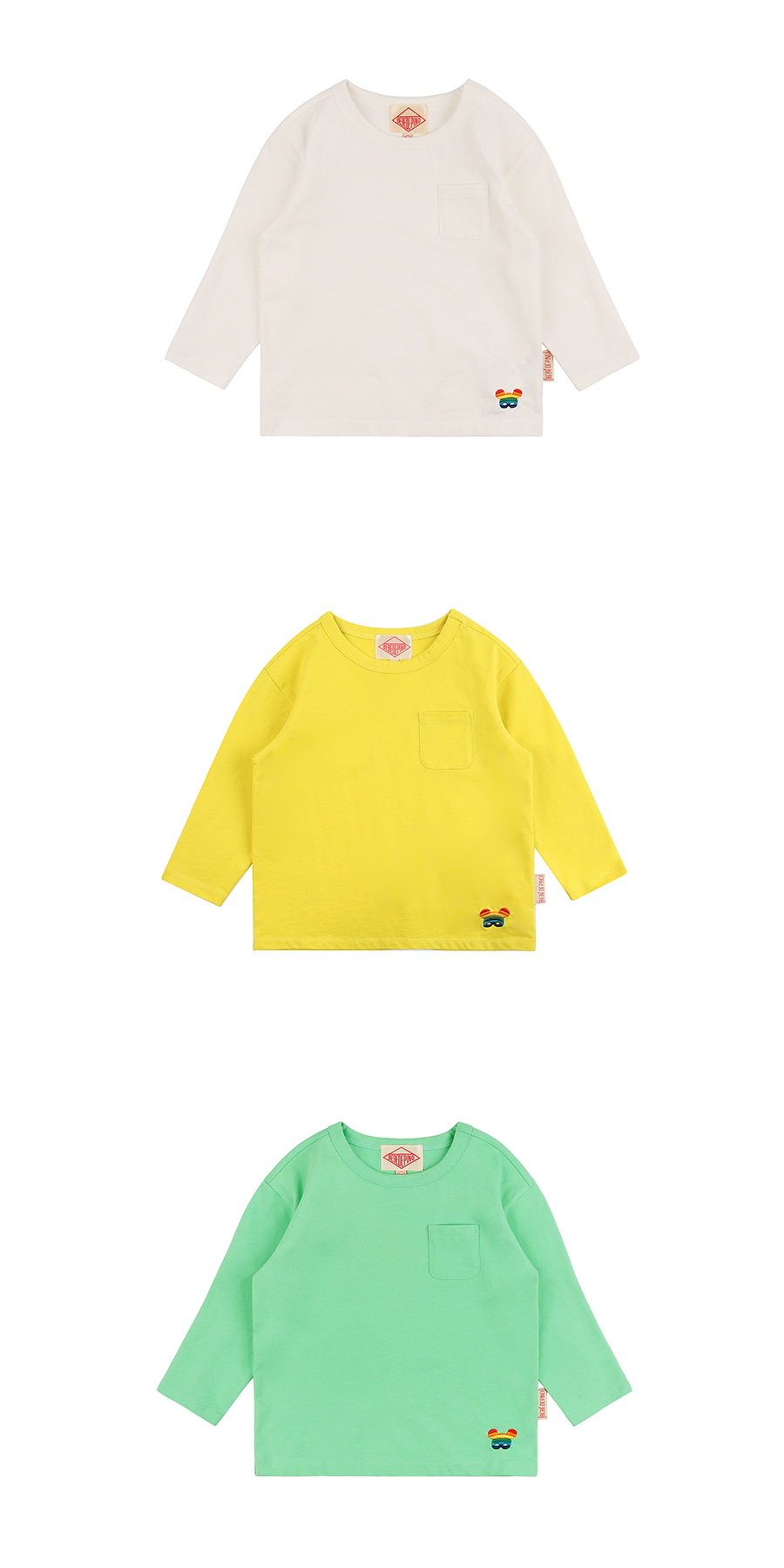 Basic rainbow pino long sleeve pocket tee 상세 이미지
