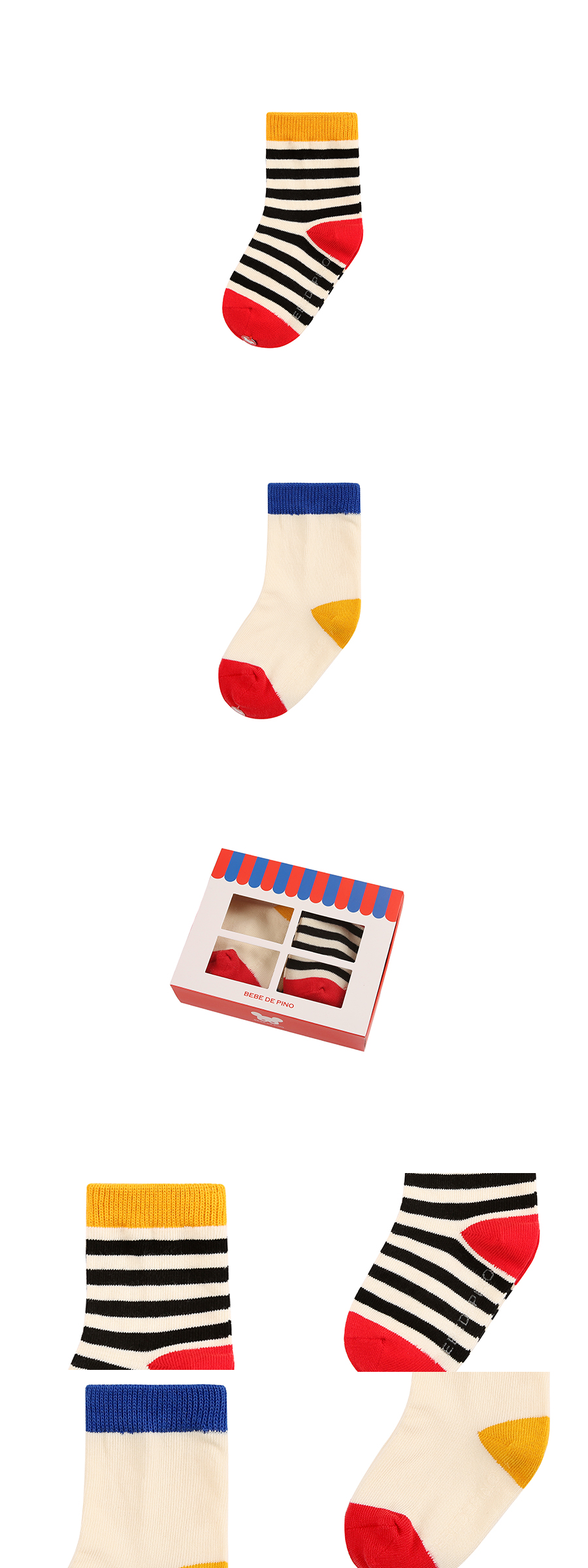 Color block socks 2 piece set 상세 이미지
