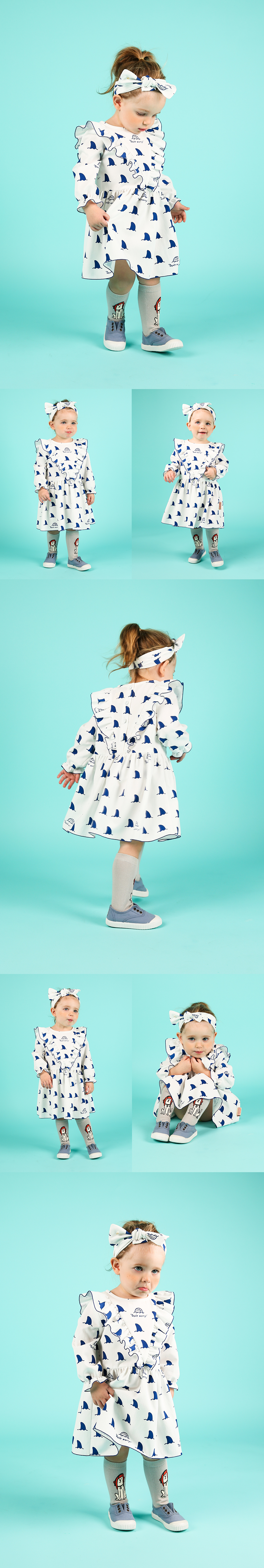 Multi shark baby ruffle dress 상세 이미지