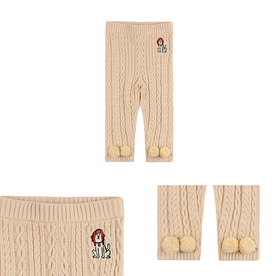 Puppy baby cotton cable pants 상세 이미지