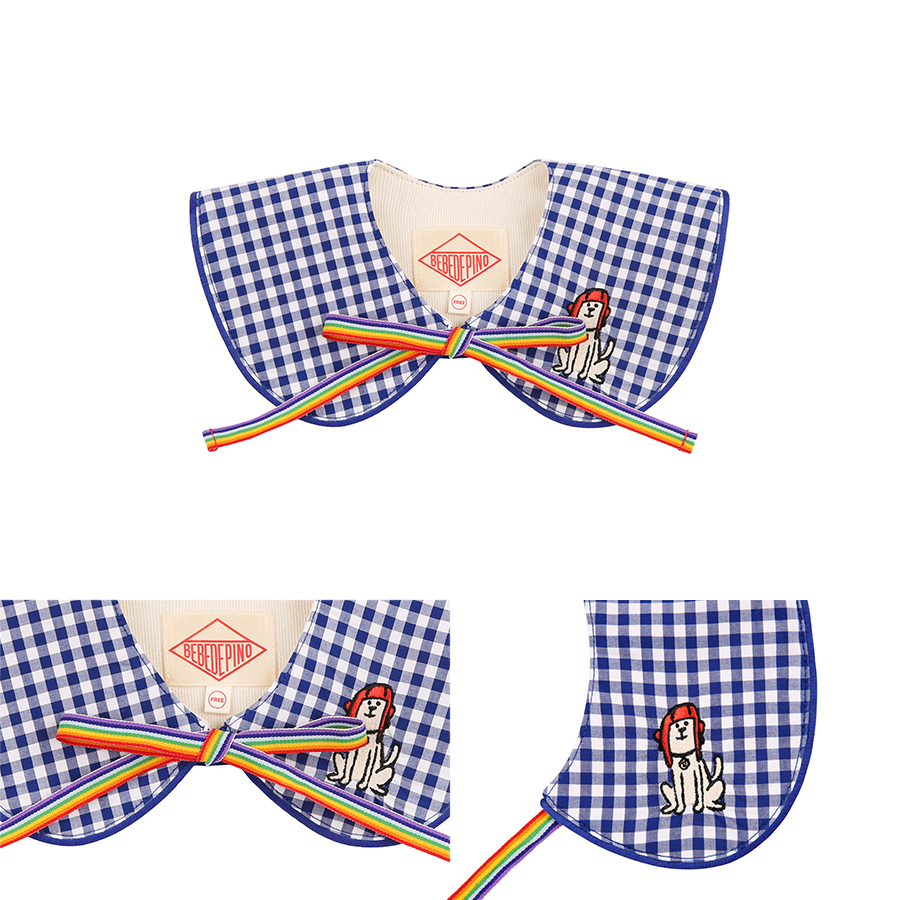Puppy baby gingham check collar 상세 이미지