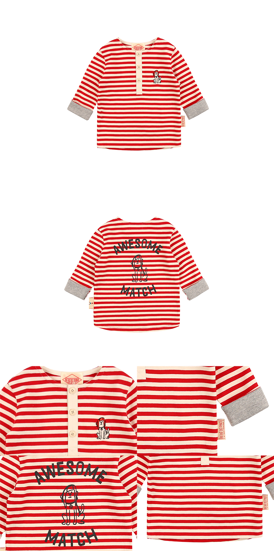 Puppy baby stripe henley neck long sleeve tee 상세 이미지