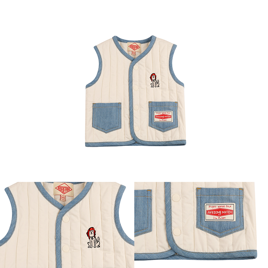 Puppy quilted vest 상세 이미지
