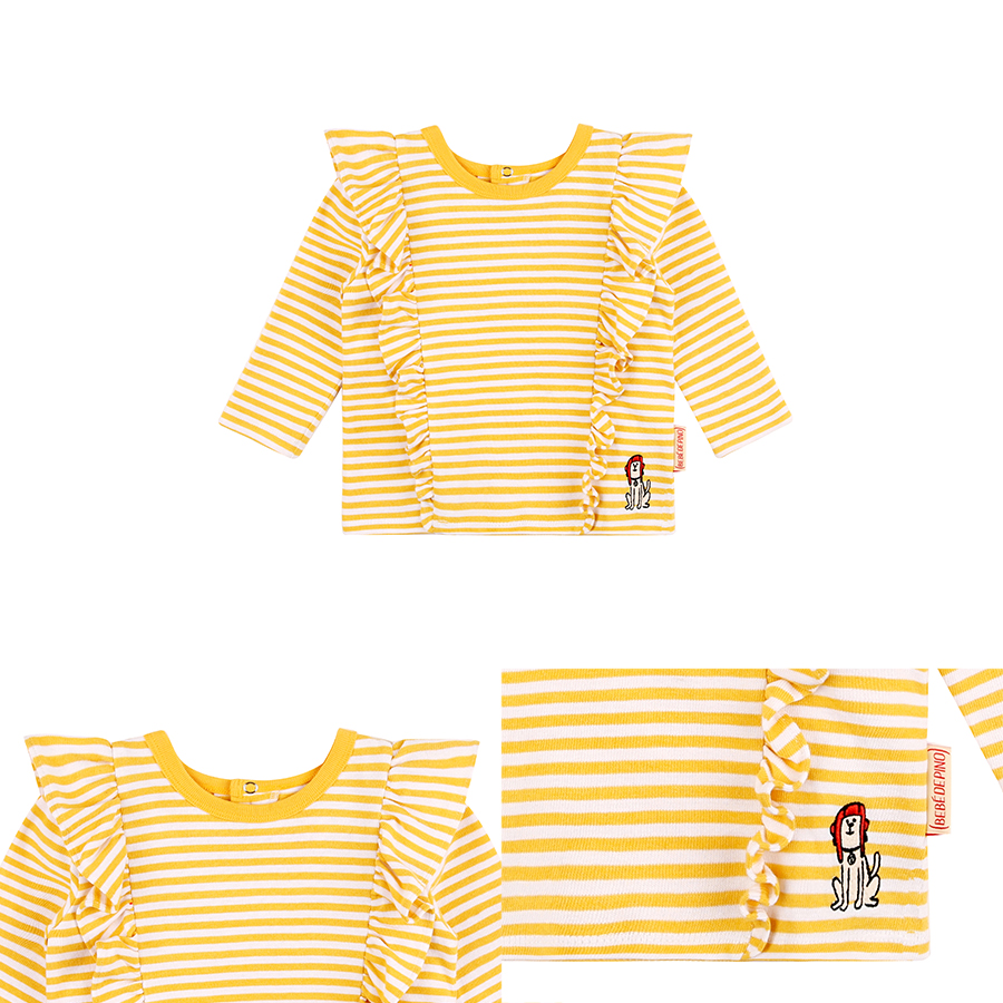 Puppy yellow stripe baby ruffle tee 상세 이미지