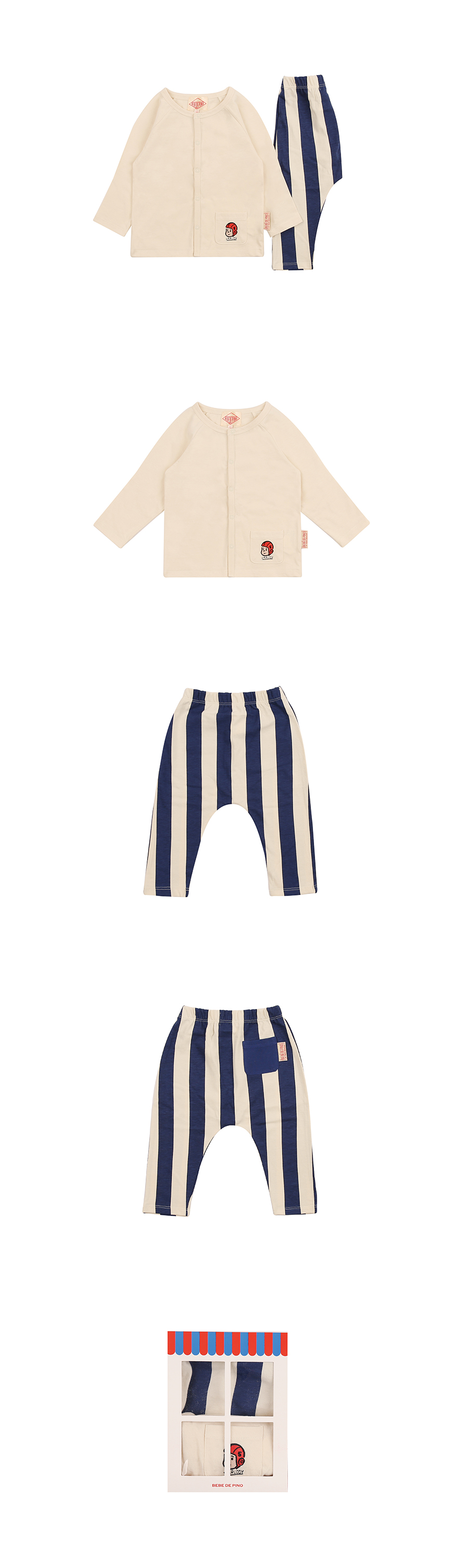 Ruddy stripe baby homewear set 상세 이미지