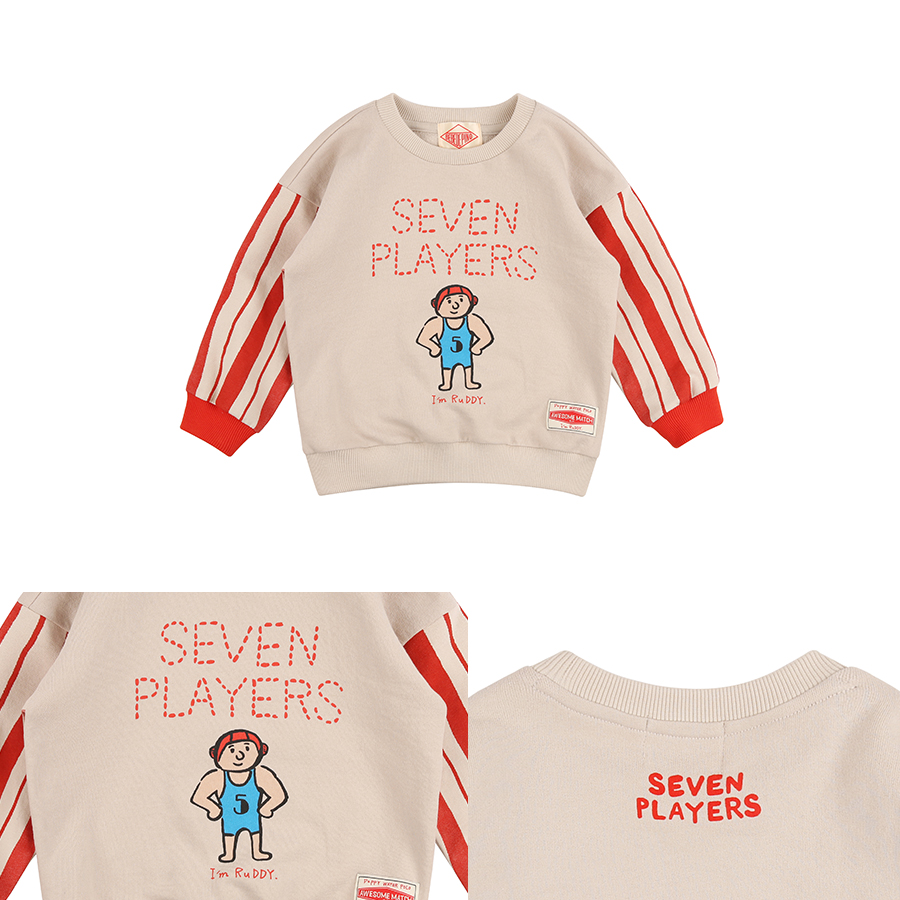 Seven players stripe color block Sweatshirt 상세 이미지