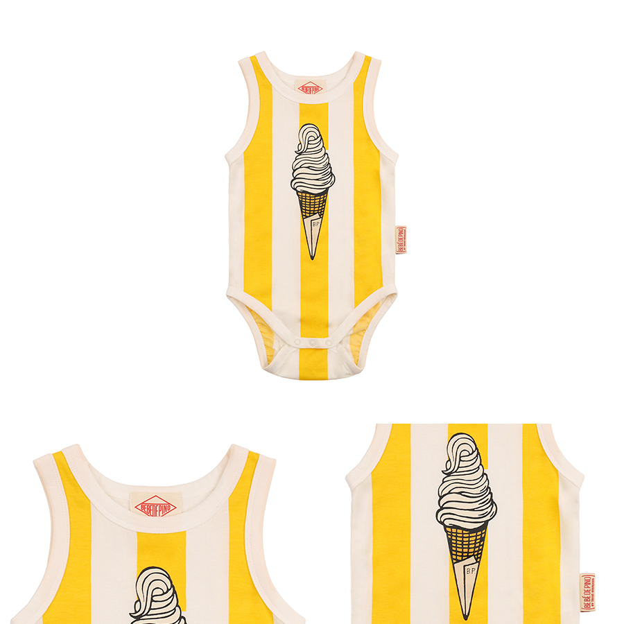 Ice cream baby bold stripe sleeveless bodysuit 상세 이미지