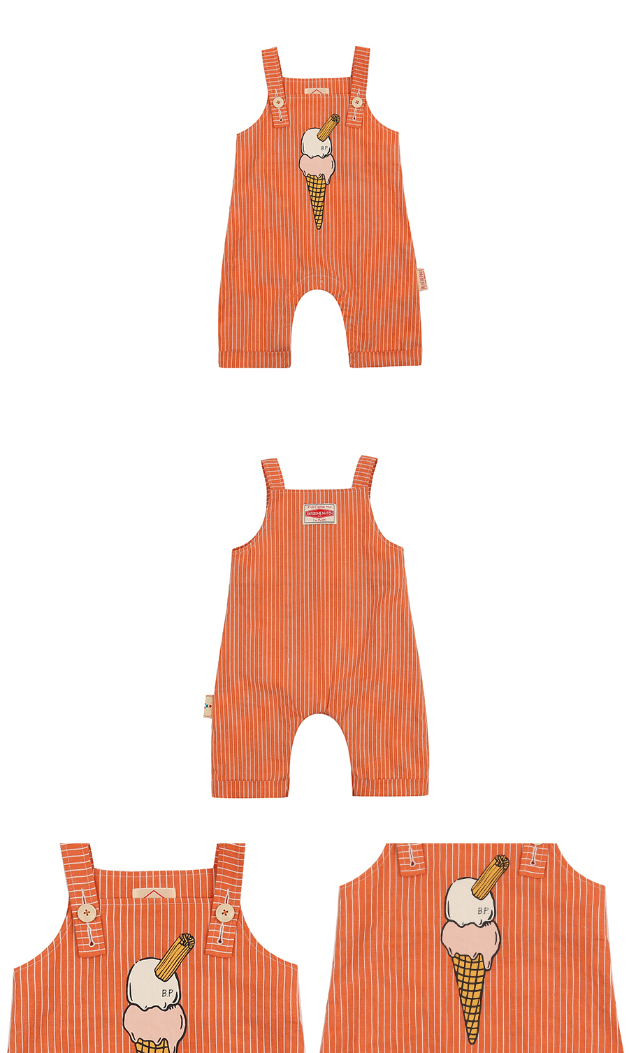Ice cream cone baby stripe playsuit 상세 이미지