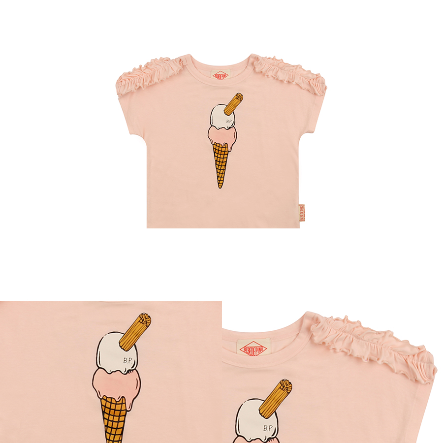 Ice cream cone short sleeve ruffle tee 상세 이미지