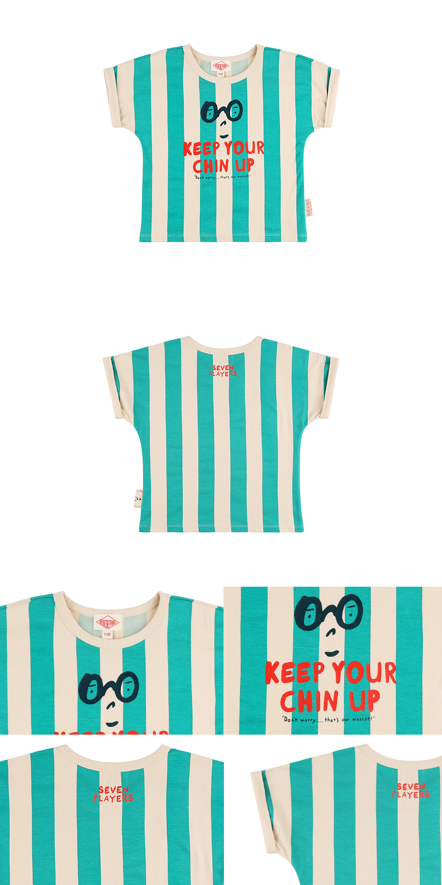 Keep your chin up bold stripe kimono sleeve tee 상세 이미지