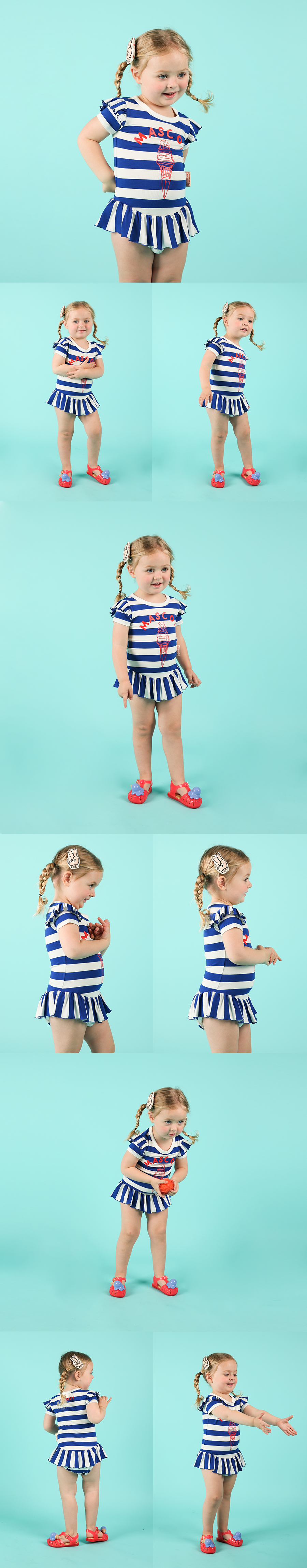 Mascot ice cream baby stripe ruffle bodysuit 상세 이미지