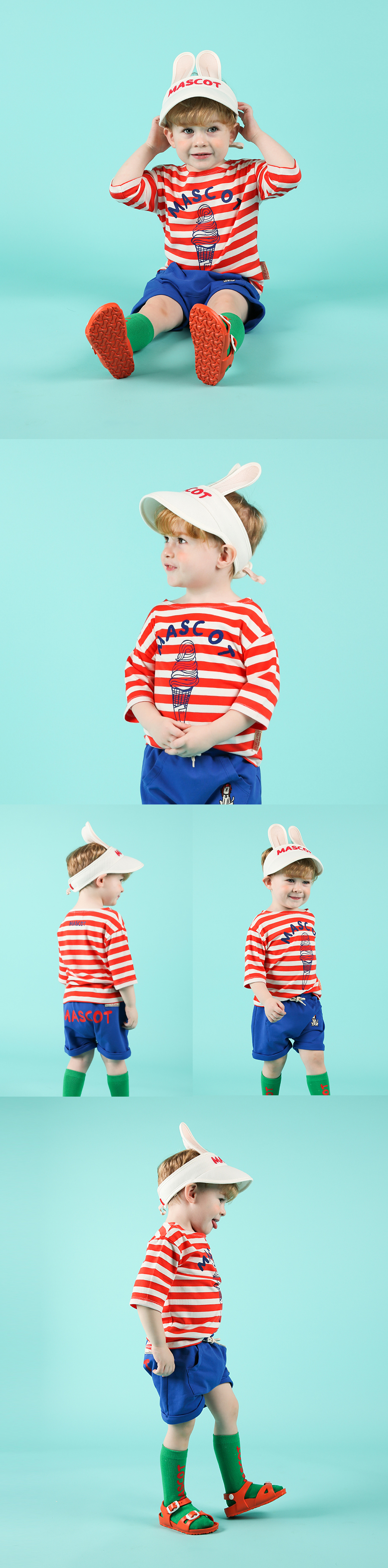 Mascot ice cream baby stripe three-quarter tee 상세 이미지
