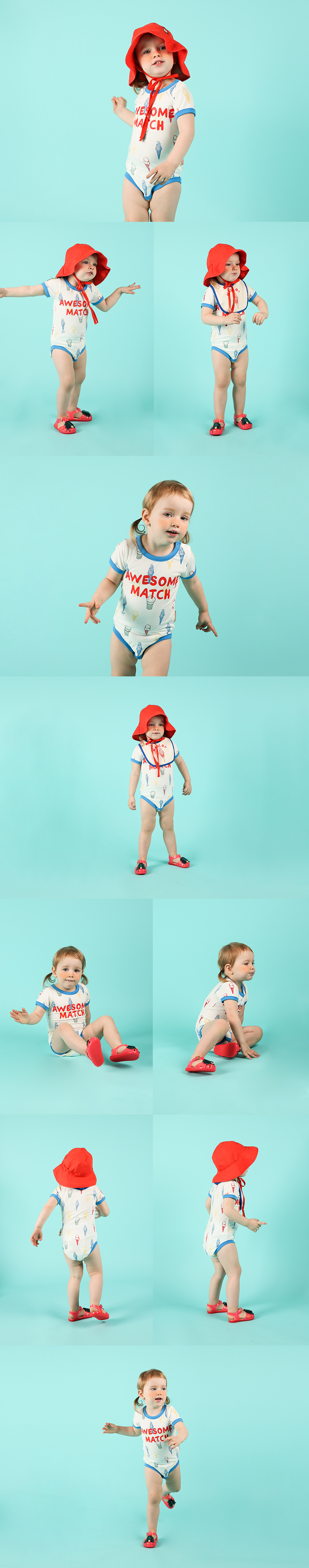 Multi color ice cream cone baby short sleeve bodysuit 상세 이미지