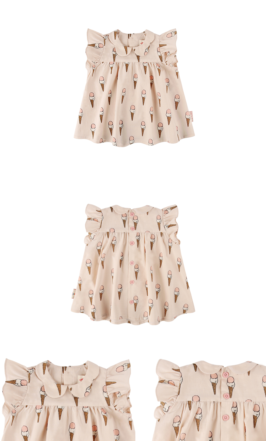 Multi ice cream cone baby girl blouse 상세 이미지