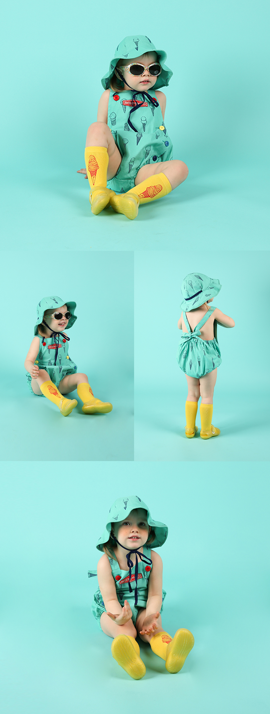 Multi ice cream cone baby playsuit 상세 이미지
