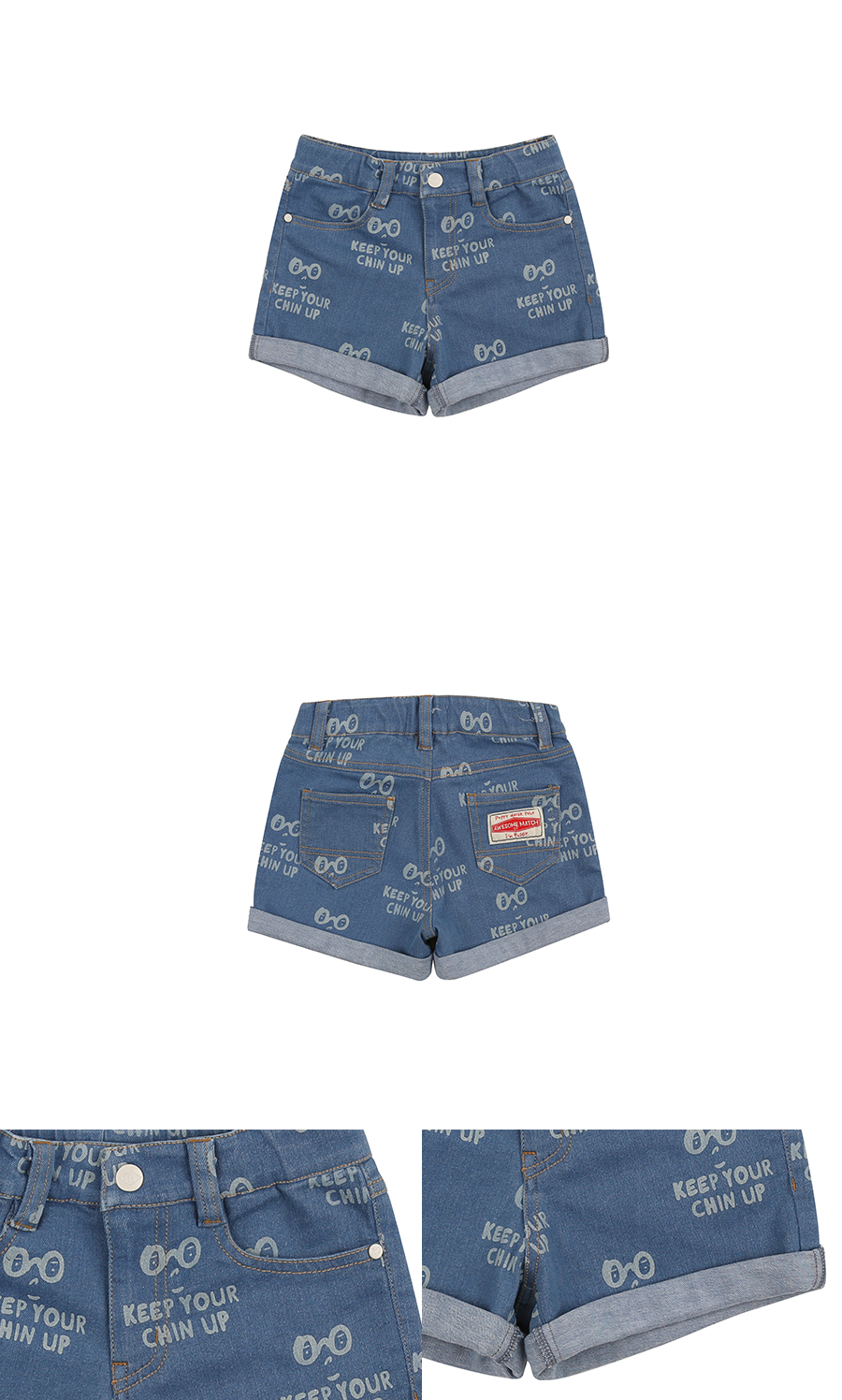 Multi letter denim roll-up shorts 상세 이미지