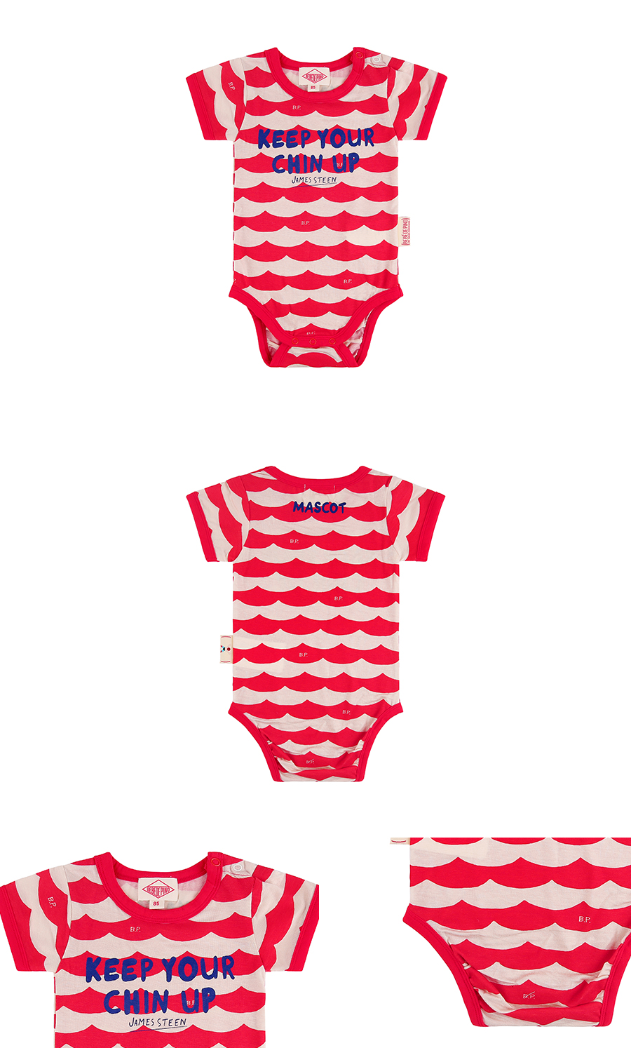 Multi scarlet wave baby short sleeve bodysuit 상세 이미지