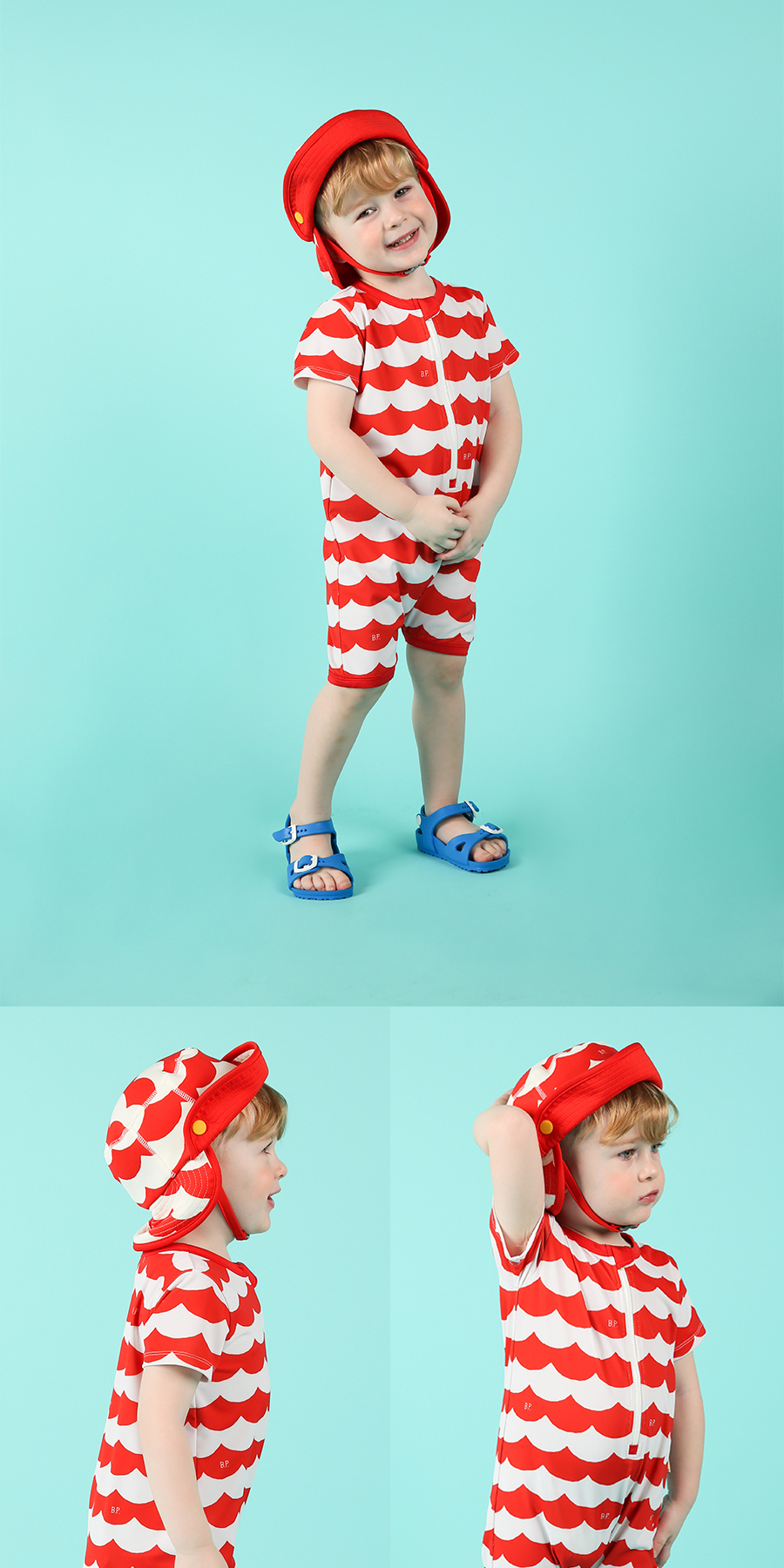 Multi scarlet wave baby swim hat 상세 이미지