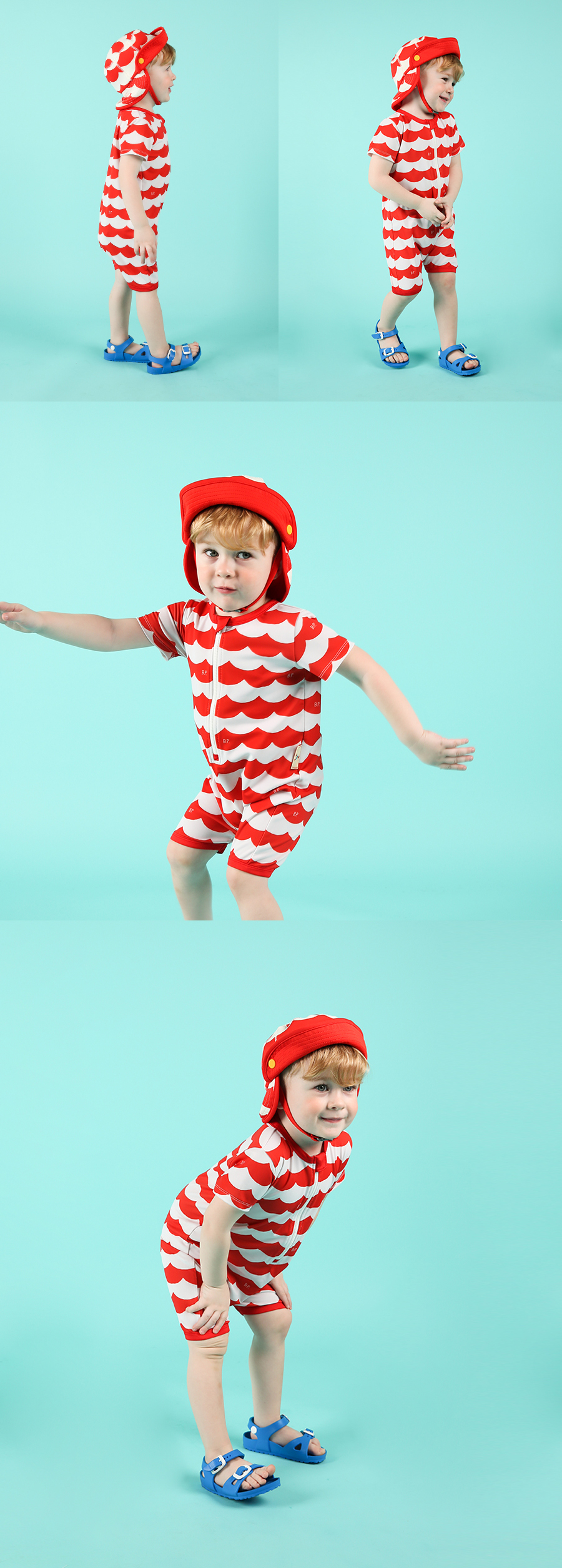 Multi scarlet wave baby swimsuit 상세 이미지