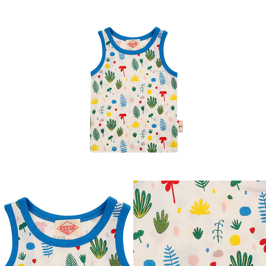 Multi tropical color block tank top 상세 이미지