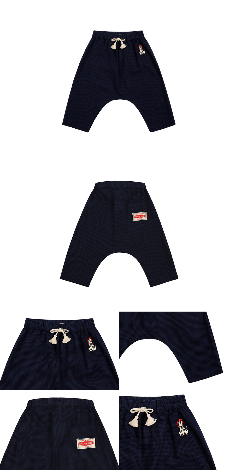 Puppy baby check tassel pants 상세 이미지