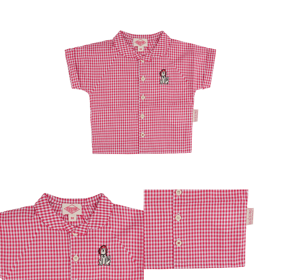 Puppy baby gingham check shirts 상세 이미지
