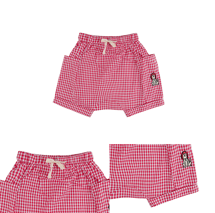 Puppy baby gingham check short pants 상세 이미지