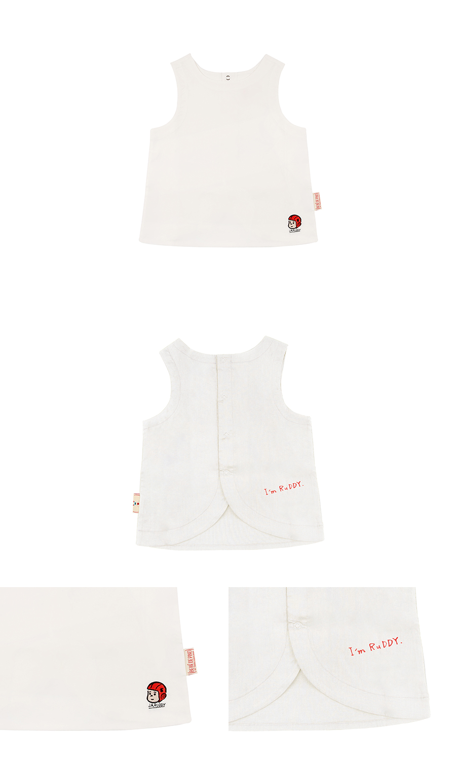 Puppy embroidery back open linen vest 상세 이미지