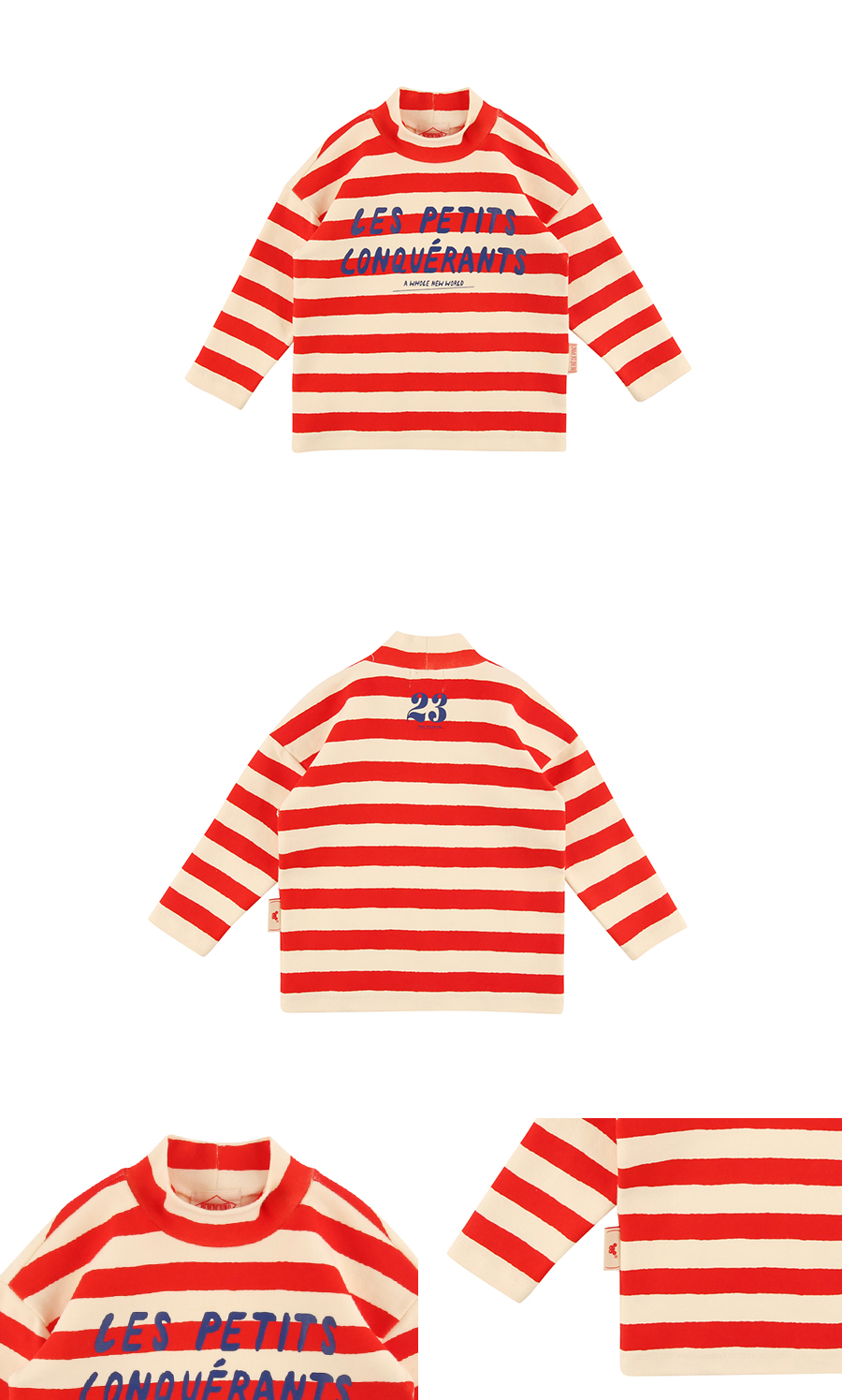 Lettering bold stripe high-neck long sleeve tee 상세 이미지