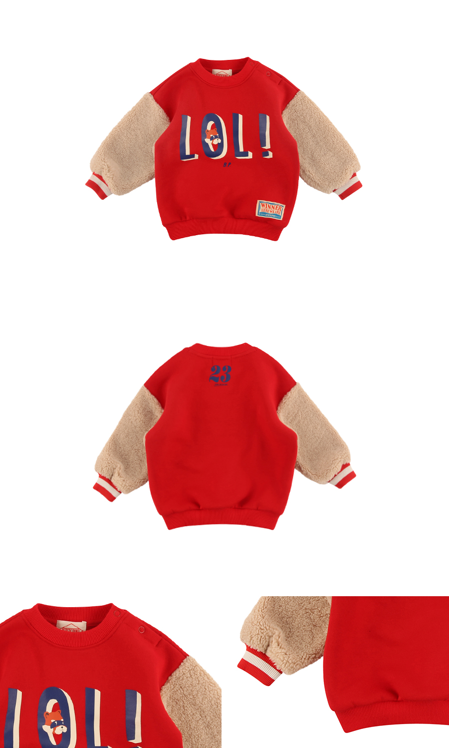 Lol baby dumble fur sleeve sweatshirts 상세 이미지