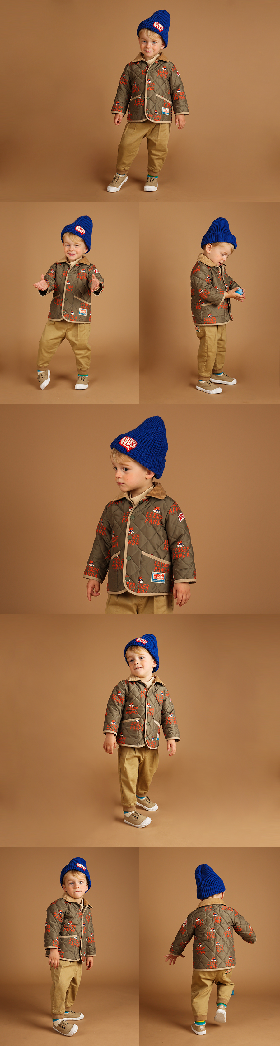 Multi lesser panda baby quilted jacket 상세 이미지