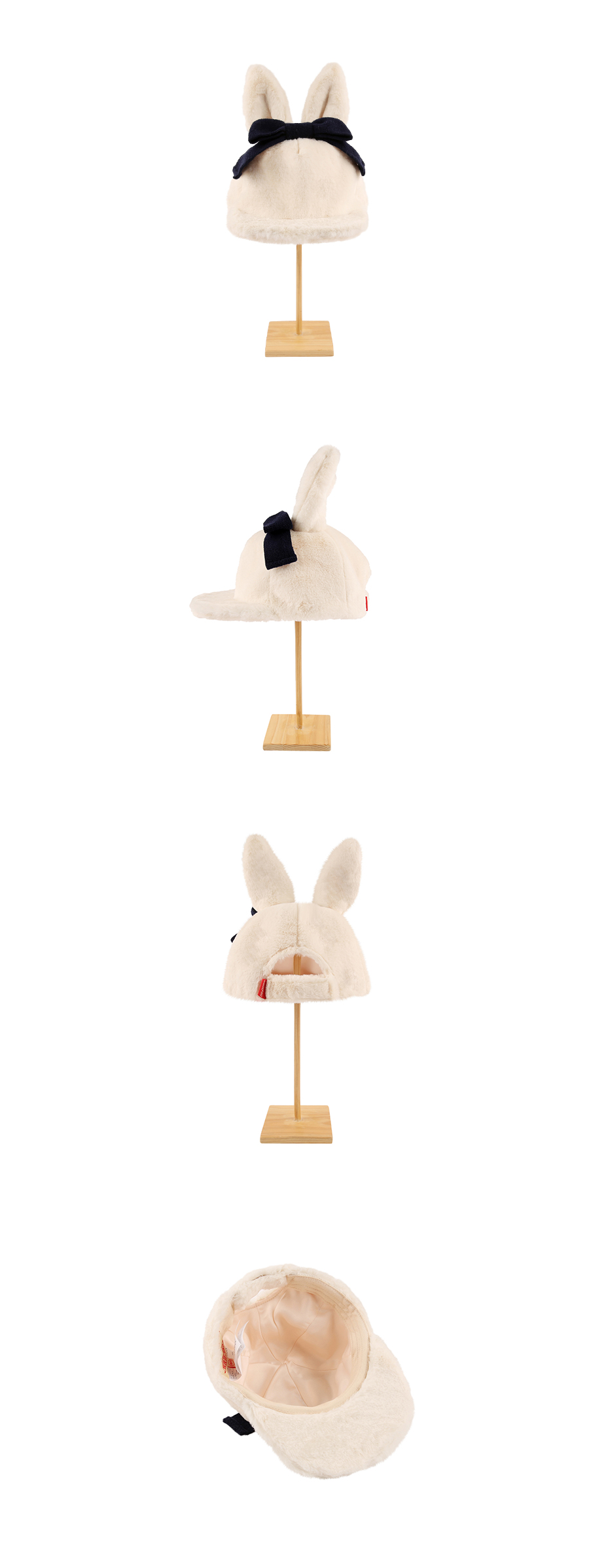 Rabbit ear faux fur ivory snapback 상세 이미지