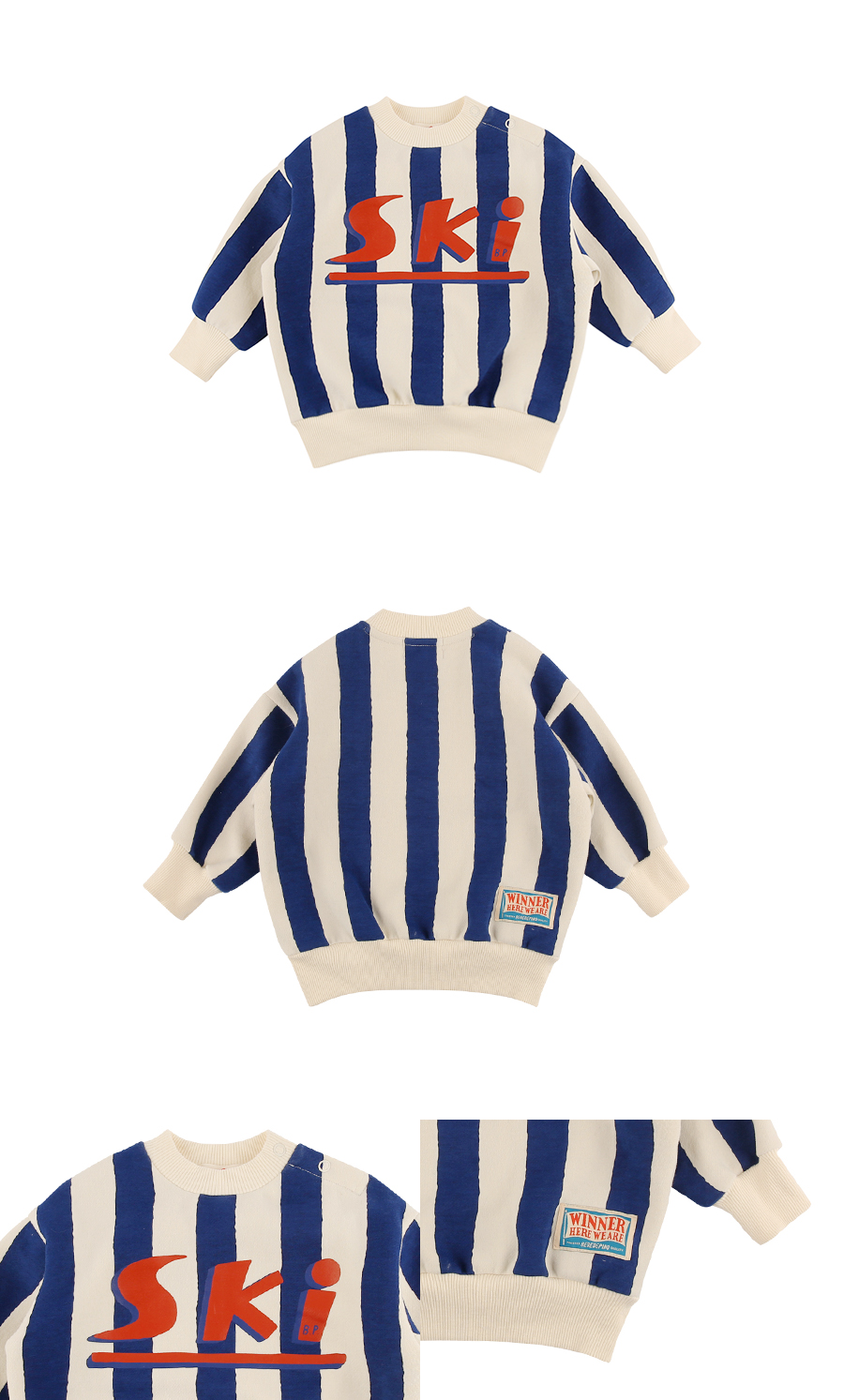 Ski baby winter stripe sweatshirt 상세 이미지